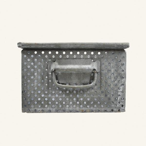 Vintage Galvanised Zinc Perforated Basket