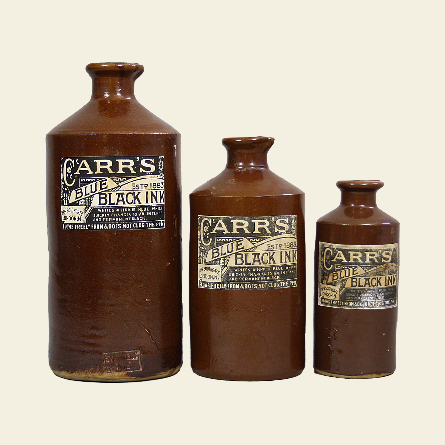 D1058 Large Vintage Stoneware Salt Glazed Inkwell Carrs_4