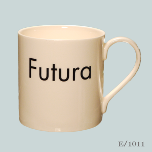 Futura font mug typography