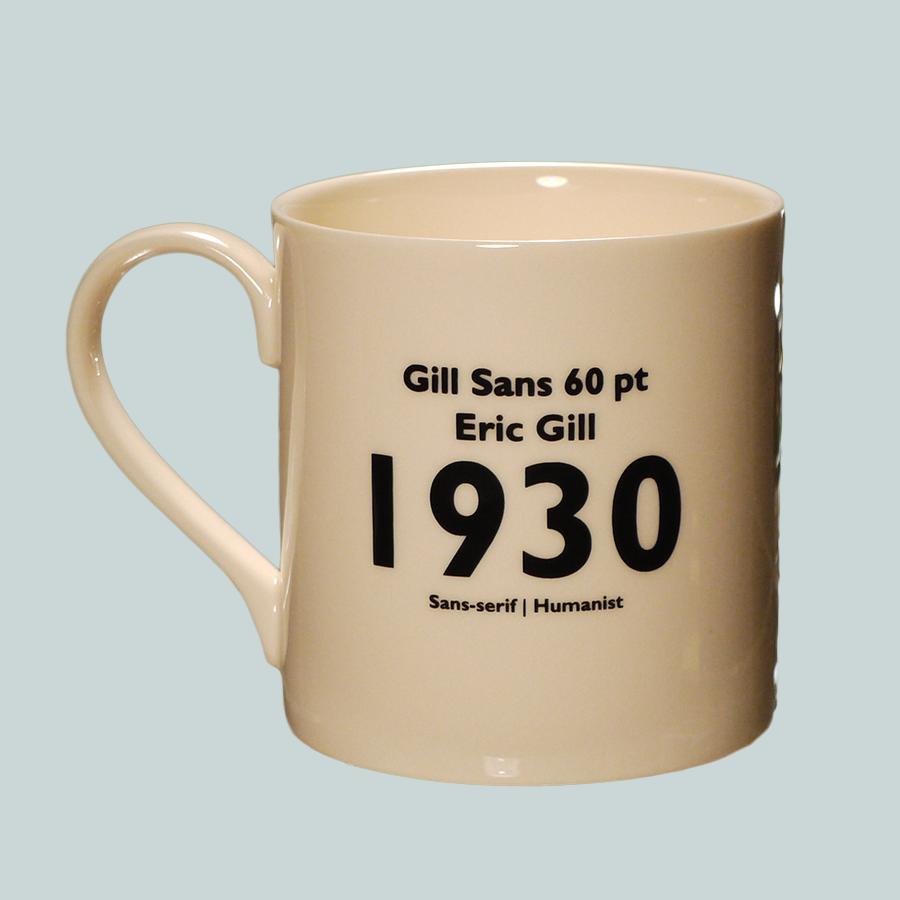 E1012 Creamware Earthenware Typography Font Mug Gill Sans Back