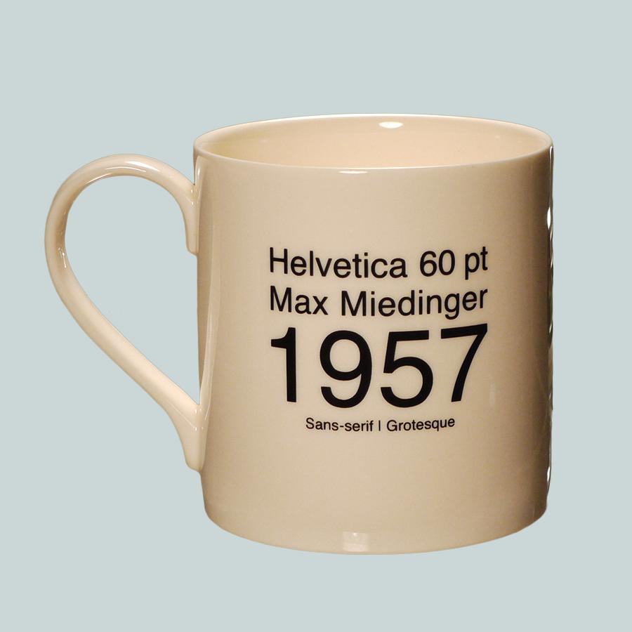 E1014 Creamware Earthenware Typography Font Mug Helvetica Back
