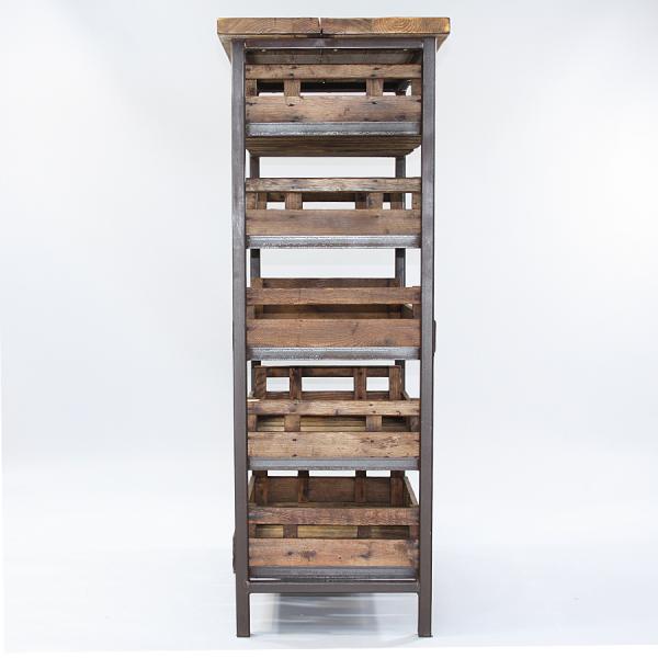 bakers-Rack_steel_frame_vintage_trays_reclaimed_top_