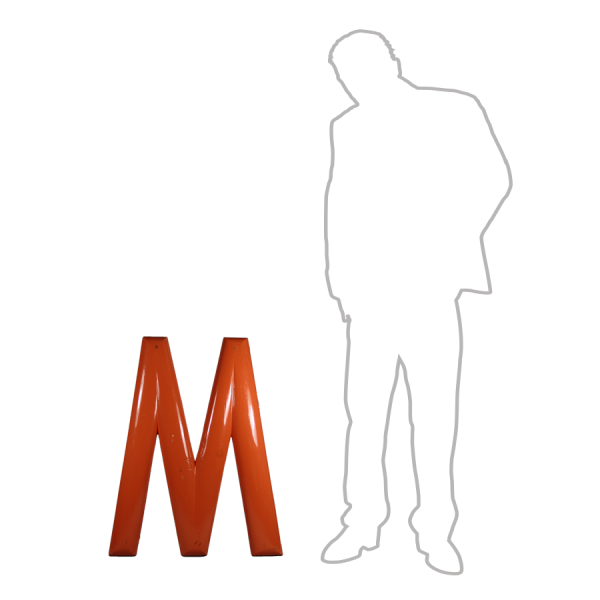 vintage_letter_M_orange_wooden_large_
