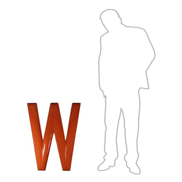 vintage_letter_W_wooden_orange_oversized