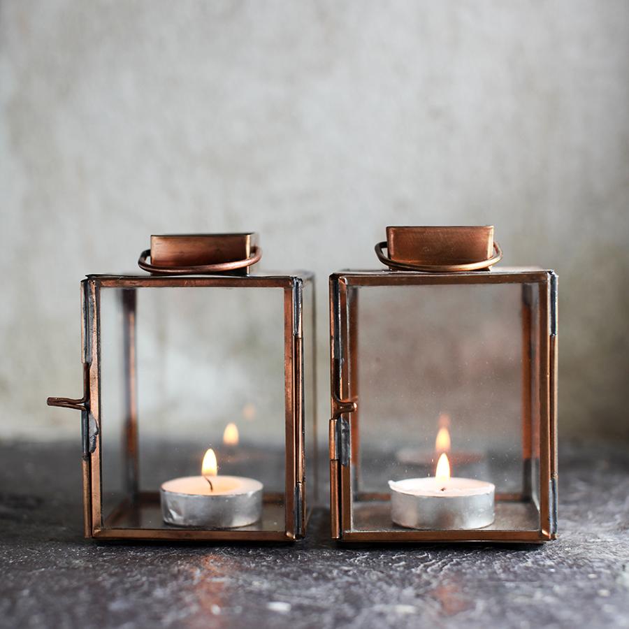 Copper Tealight Lantern Vintage Matters