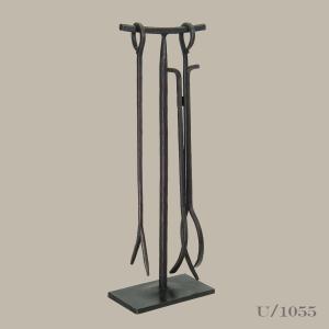 wrought, iron, fireside, 2 piece, tool, set,