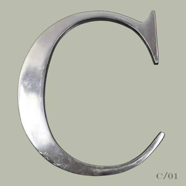 vintage cast aluminium letter C