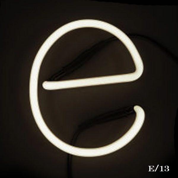 neon E letter light seletti