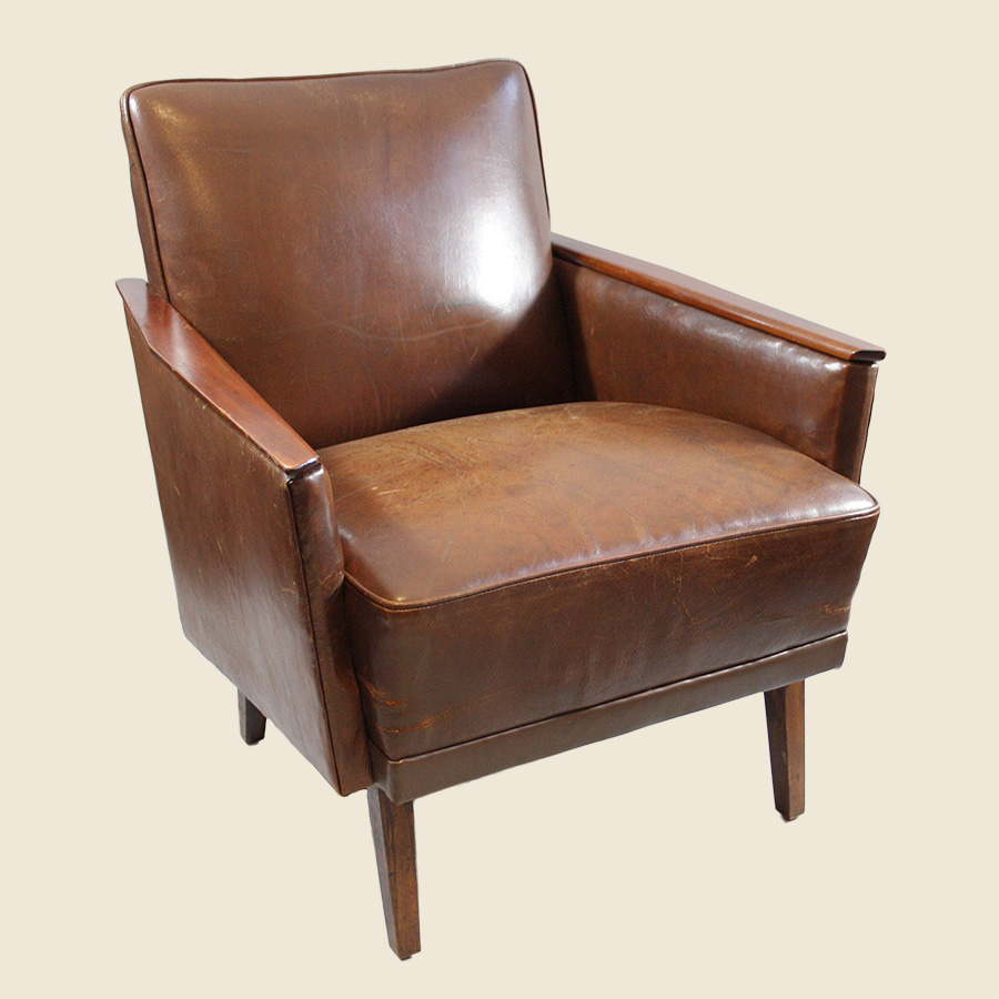 vintage mid century leather armchair