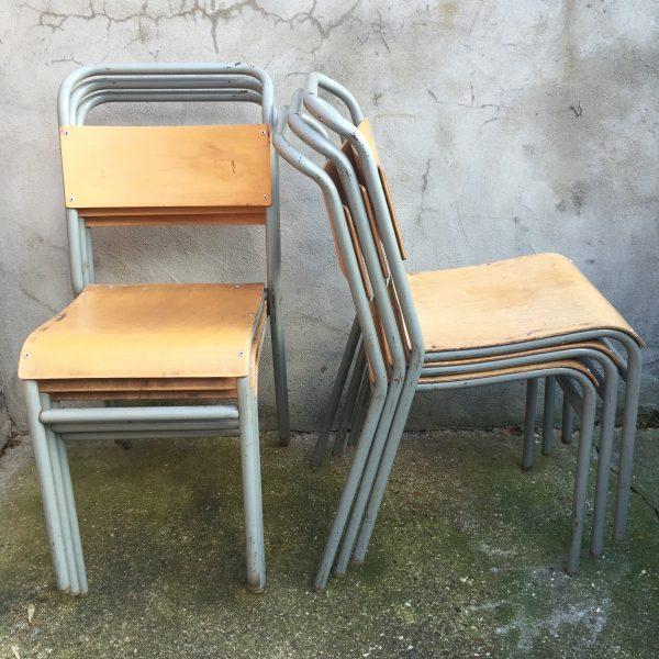 vintage stacking school chairs, metal, plywood,