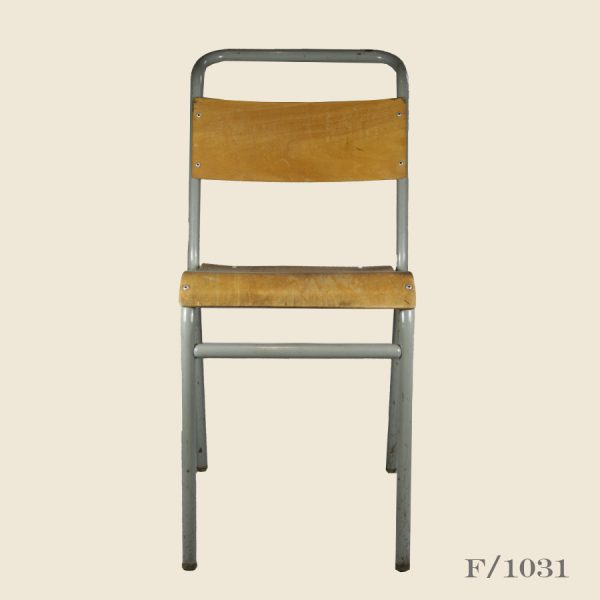 vintage stacking plywood chairs, metal, plywood, school