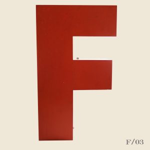 giant vintage letter F red metal