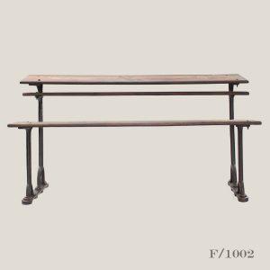 vintage schhol desk and bench, vintage, wood, cast, iron, school, desk, bench,