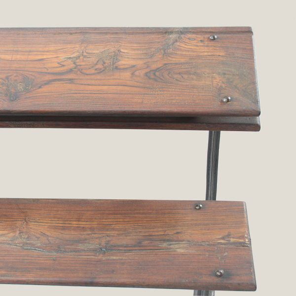 vintage, wood, cast, iron, school, desk, bench,