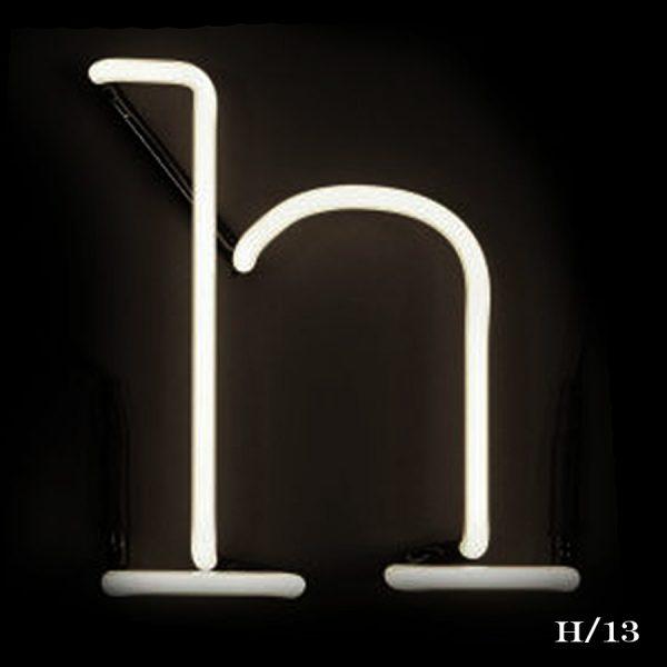 neon H letter light seletti