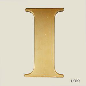 vintage gold letter I