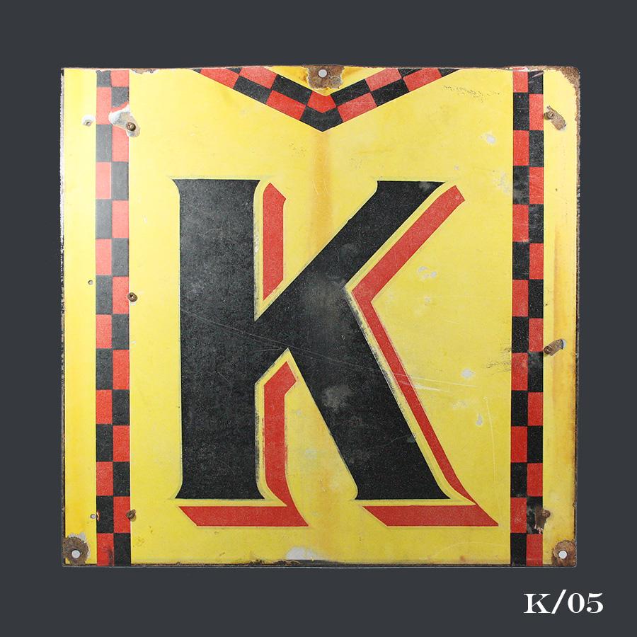 vintge metal enamel Kodak sign letter K