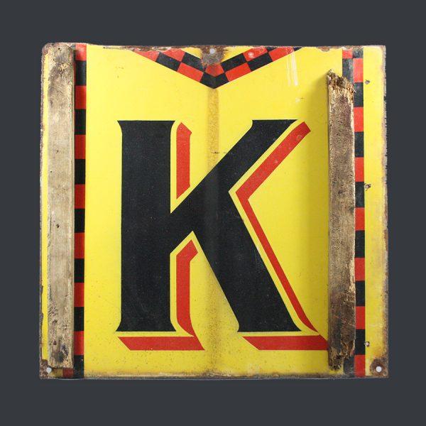 vintage enamel Kodak letter K sign metal