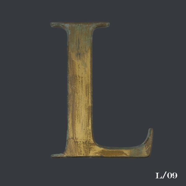 vintage, distressed, gold, gilt, letter, initial, L,