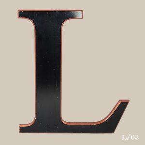 black vintage letter L resin