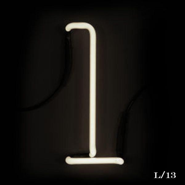 neon L letter light seletti