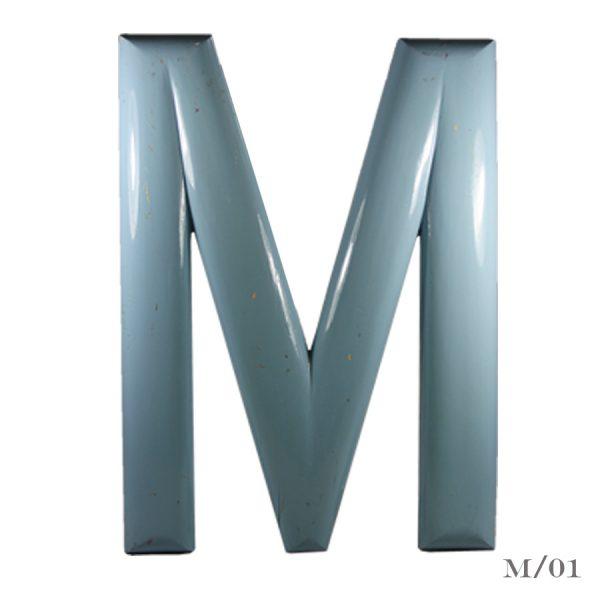 large vintage fairground letter M wooden painted light blue