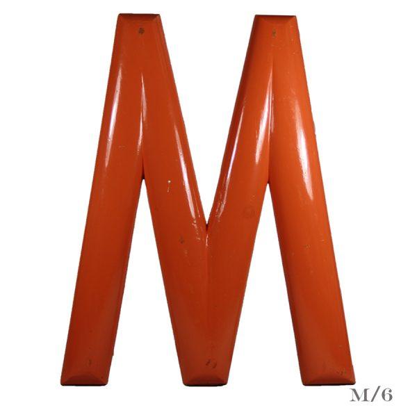 large vintage fairground letter M painted wood