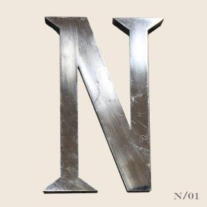 vintage metal letter N