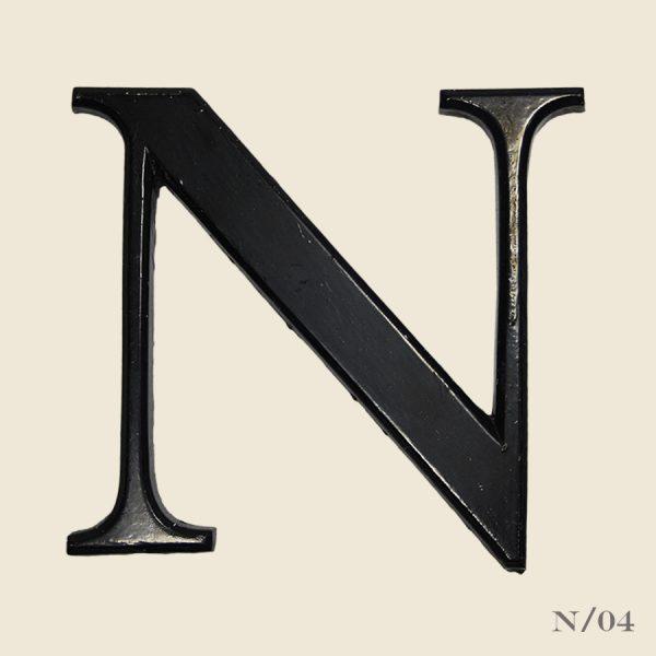 vintage resin letter N black