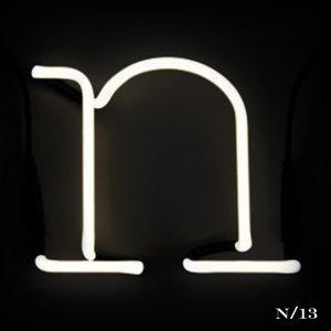 neon N letter light seletti