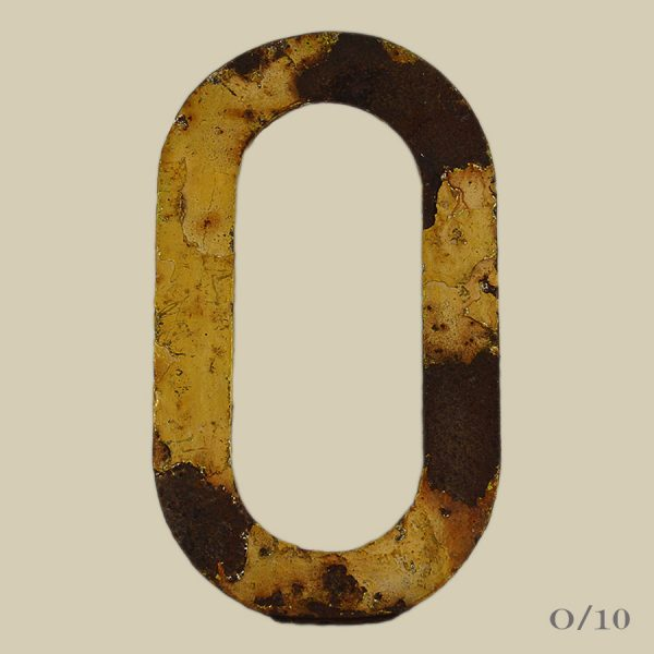 vintage rusty metal letter O