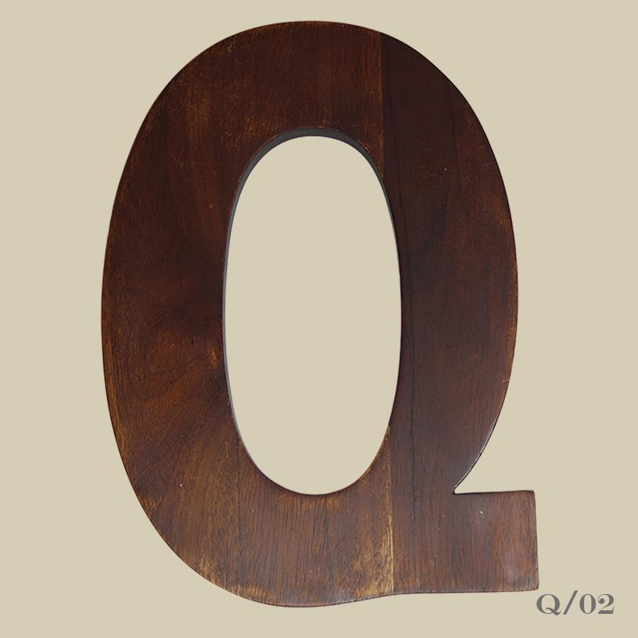 vintage wooden letter Q