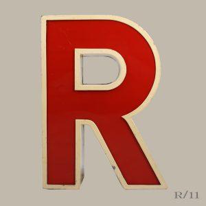 vintage letter light R red