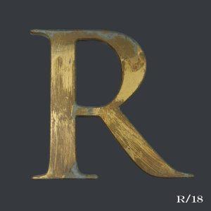 vintage distressed gold letter R