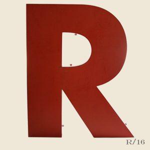 giant vintage letter R red metal