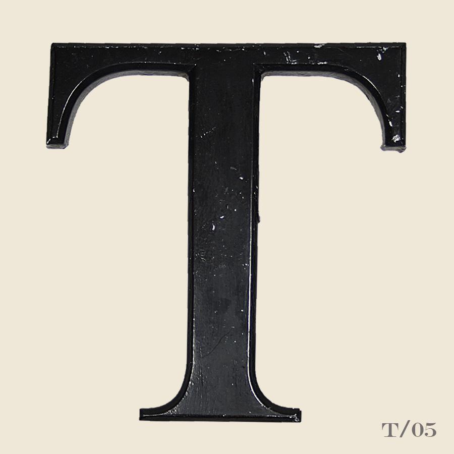 vintage black resin letter T