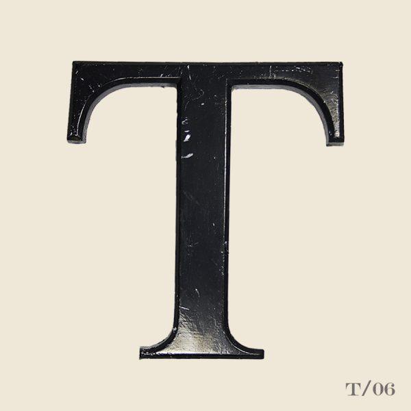 vintage resin letter T black