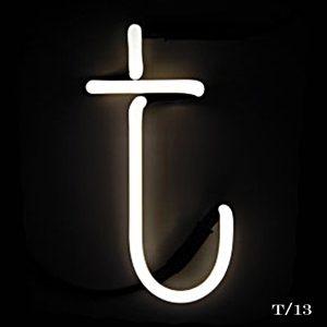 neon T letter light seletti