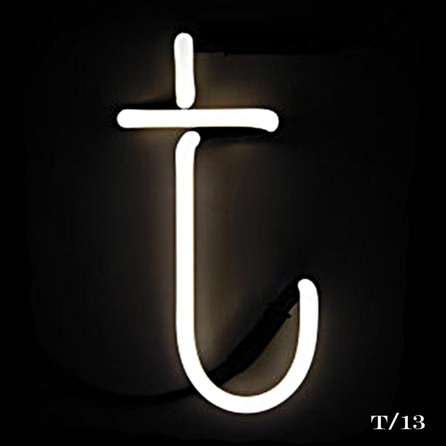 neon letter T light
