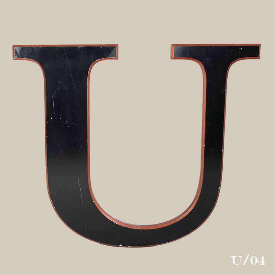 vintage black resin letter r
