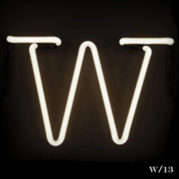 neon W letter light seletti