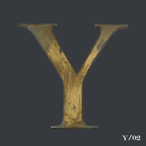 Vintage, Distressed, Gold, Gilt, Letter, Y,