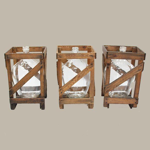 vintage oversized bottle demijohn carboy wooden crate