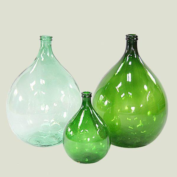 Vintage oversized green glass demijohn bottle carboy