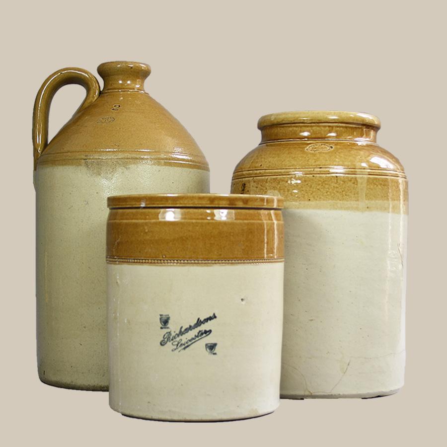 vintage stoneware pot crock flagon crock
