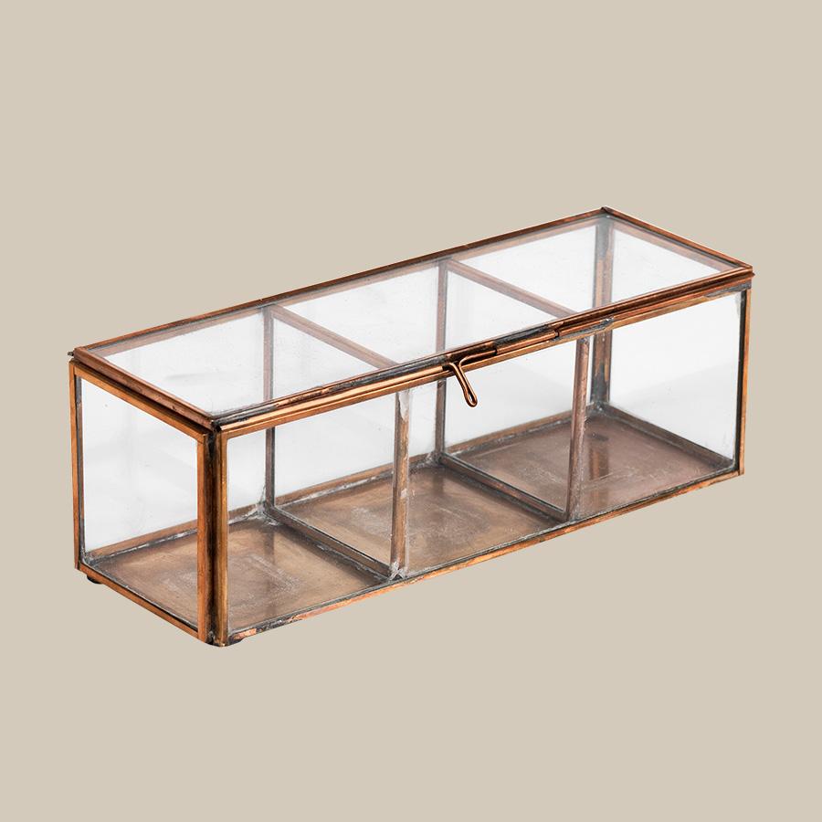 copper & glass divider storage keepsake box