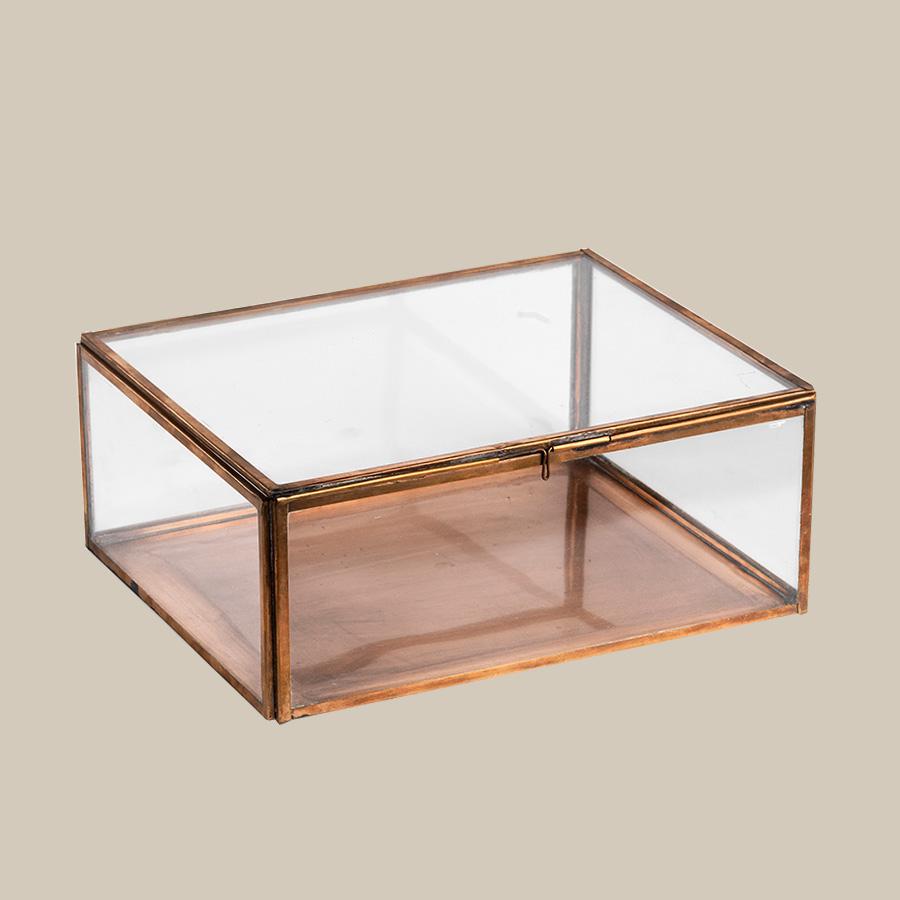 copper & glass storage keepsake box