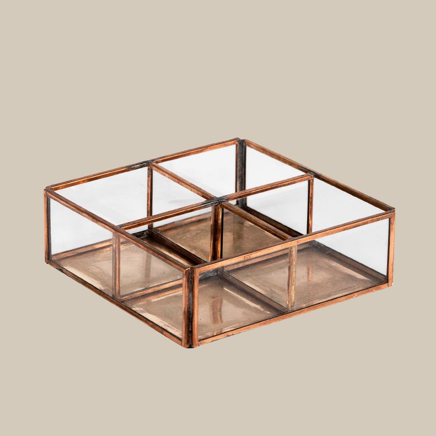 copper & glass open divider box