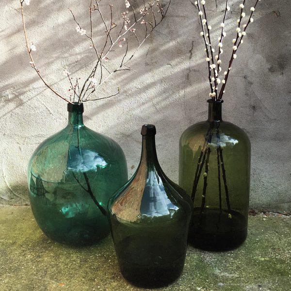 Vintage Oversized Green Glass Bottle