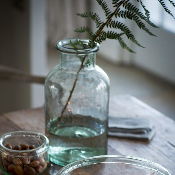recycled green glass water bottle vase